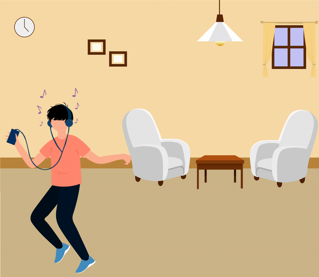 An illustration of someone dancing to music in their living room