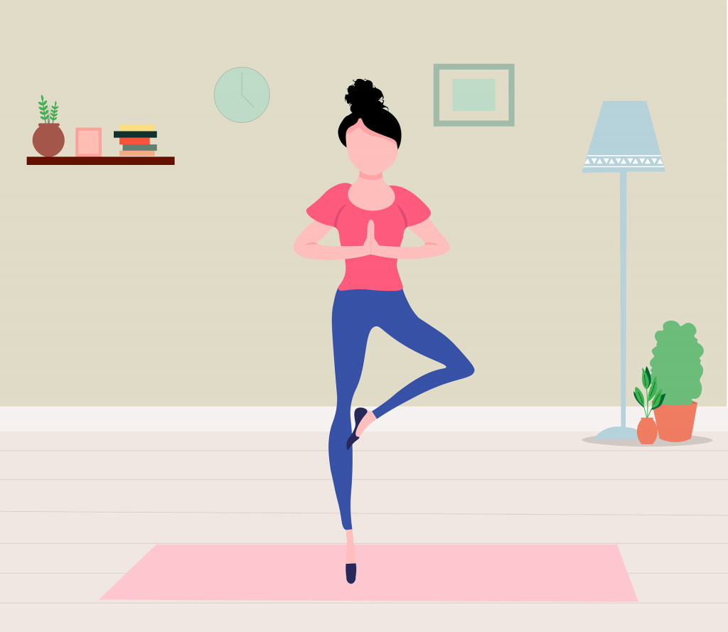 Illustration of a female doing a yoga pose in living room