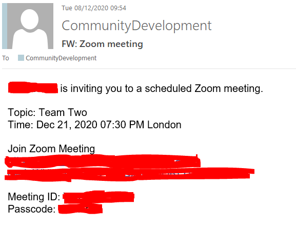 Zoom instructions via email