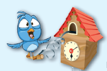 Cartoon of a cuckoo clock